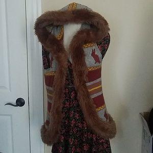 Sweaters - Festival faux fur vest with hood